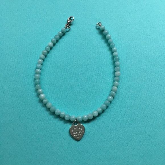 7e141871a00ea Tiffany & Co Amazonite 4mm bead bracelet 7""
